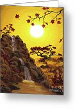 Meditating By A Golden Waterfall Greeting Card