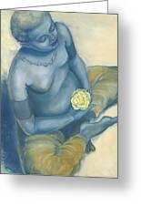 Meditation With Flower Greeting Card by Judith Grzimek