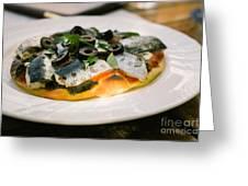 Mediterranean Sardine Pizza Greeting Card