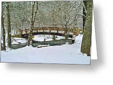 Meeks Park Bridge In Snow Greeting Card