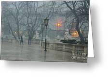 Meeting  In The Rain Greeting Card