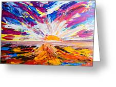 Meeting The Sun Abstract Landscape Greeting Card
