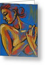 Mellow Yellow- Female Nude Portrait Greeting Card