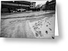 melting ice and snow on street surface holmen Honningsvag finnmark norway europe Greeting Card