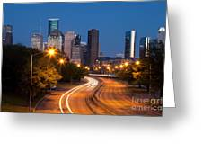 Memorial Drive And Houston Skyline Greeting Card