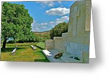 Memorial In Anzak Cemetery Along The Dardenelles In Gallipolii-turkey Greeting Card