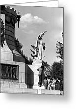 Memorial Statue Children Playing Juarez Chihuahua Mexico 1977 Black And White Greeting Card