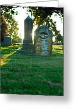 Memphis Elmwood Cemetery - Backlit Grave Stones Greeting Card