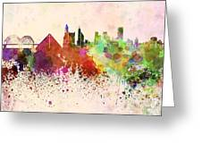 Memphis Skyline In Watercolor Background Greeting Card