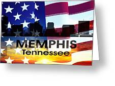 Memphis Tn Patriotic Large Cityscape Greeting Card