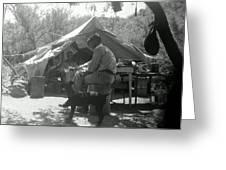 Men At Mining Camp Greeting Card