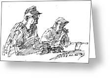 Men At The Bar Greeting Card