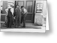 Men Talking On Bank Steps Greeting Card