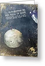 Men Walk On Moon Astronauts Greeting Card