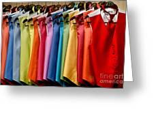Mens Tuxedo Vests In A Rainbow Of Colors Greeting Card