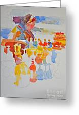 Mercado Lady With Bottles Greeting Card
