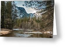 Merced River And Upper Yosemite Falls Greeting Card