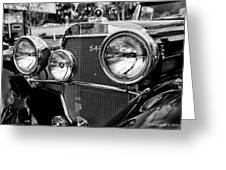 Mercedes 544k Grille - Bw Greeting Card
