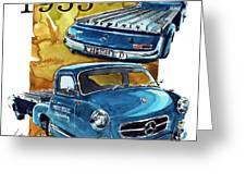 Mercedes Benz Racing Car Transport Greeting Card