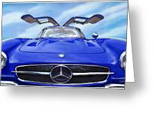 Mercedes Gullwing In Blue Greeting Card