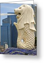 Merlion Statue By Singapore River Greeting Card