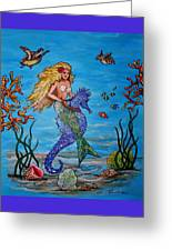 Mermaid And Seahorse Morning Swim Greeting Card
