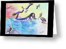 Mermaid Pelicans Surf Beach Cathy Peek Art Greeting Card