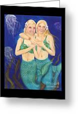 Mermaid Sisters Jelly Fish Cathy Peek Art Greeting Card