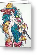 Mermaid Warrior Greeting Card