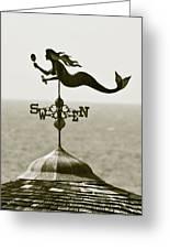 Mermaid Weathervane In Sepia Greeting Card by Ben and Raisa Gertsberg