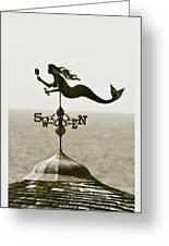 Mermaid Weathervane In Sepia Greeting Card