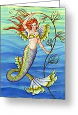 Mermaid With Red Hair Greeting Card