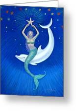 Mermaids- Dolphin Moon Mermaid Greeting Card