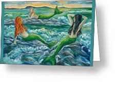 Mermaids On The Rocks Greeting Card