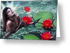Mermeid And Water Lilies Greeting Card