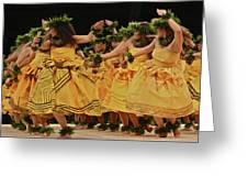 Merrie Monarch Hula Dancers In Yellow Dresses Greeting Card