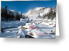 Merry Christmas Snowy Mountain Scene Greeting Card