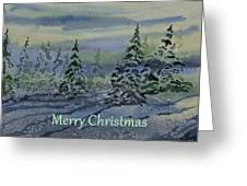 Merry Christmas - Snowy Winter Evening Greeting Card