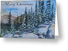 Merry Christmas - Winter Trees And Mountains Greeting Card