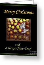 Merry Christmas And A Happy New Year - Little Gold Pears And Leaf - Holiday And Christmas Card Greeting Card