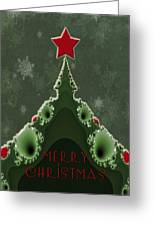 Merry Christmas Greeting - Tree And Star Fractal Greeting Card