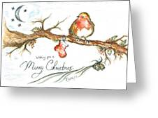 Merry Christmas Robin Greeting Card