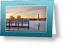 Merry Christmas Winter Marina And Lighthouse Greeting Card