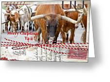 Longhorns Merry Christmas Ya'll Greeting Card