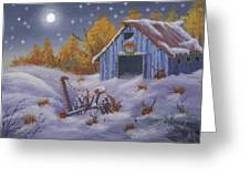 Merry Christmas You Old Barn And Farm Implement Greeting Card