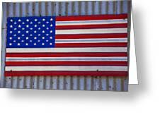 Metal American Flag Greeting Card