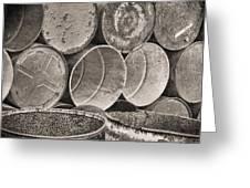 Metal Barrels 2bw Greeting Card