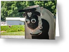 Metal Cow On Farm Greeting Card