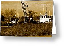 Metal Cranes On The Delta Greeting Card