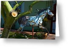 Metal Horse Sculpture Greeting Card